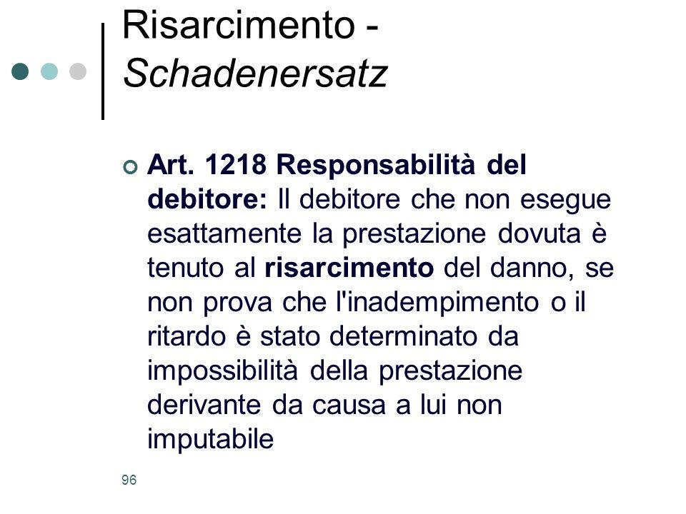 96 Risarcimento - Schadenersatz Art. 1218 Responsabilità del debitore: Il debitore che non esegue esattamente la prestazione dovuta è tenuto al risarc