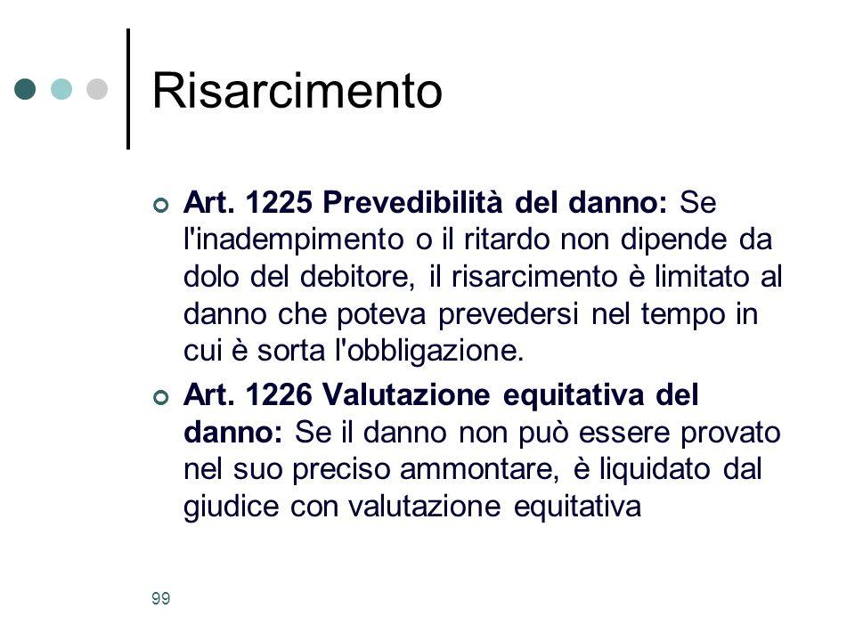 99 Risarcimento Art. 1225 Prevedibilità del danno: Se l'inadempimento o il ritardo non dipende da dolo del debitore, il risarcimento è limitato al dan