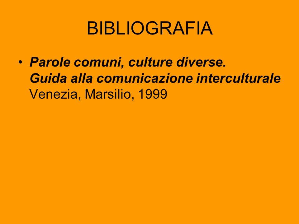 BIBLIOGRAFIA Parole comuni, culture diverse. Guida alla comunicazione interculturale Venezia, Marsilio, 1999