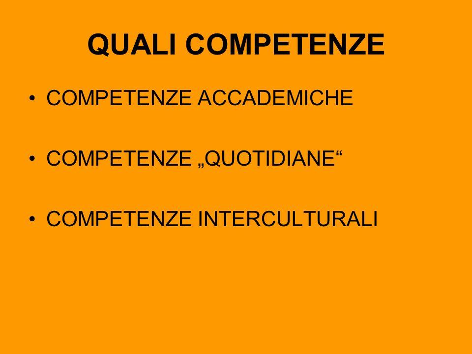 QUALI COMPETENZE COMPETENZE ACCADEMICHE COMPETENZE QUOTIDIANE COMPETENZE INTERCULTURALI