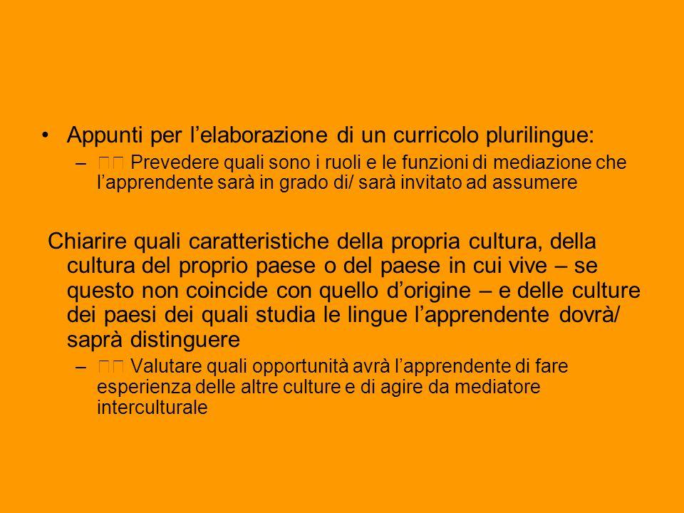 Appunti per lelaborazione di un curricolo plurilingue: – Prevedere quali sono i ruoli e le funzioni di mediazione che lapprendente sarà in grado di/ s