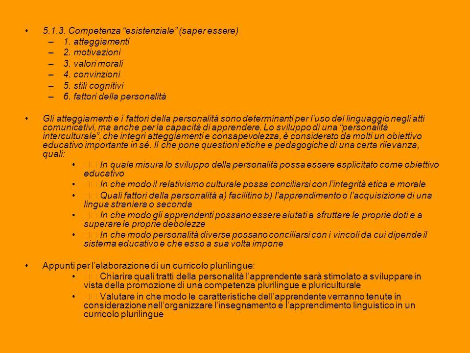 5.1.3. Competenza esistenziale (saper essere) –1. atteggiamenti –2. motivazioni –3. valori morali –4. convinzioni –5. stili cognitivi –6. fattori dell