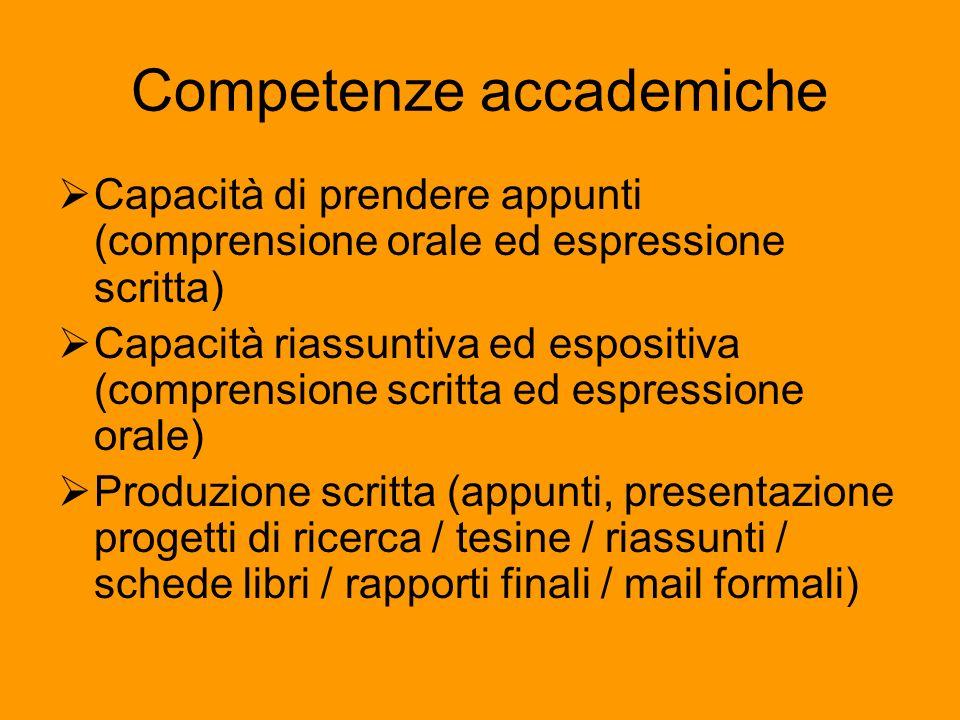 Competenze accademiche Capacità di prendere appunti (comprensione orale ed espressione scritta) Capacità riassuntiva ed espositiva (comprensione scrit
