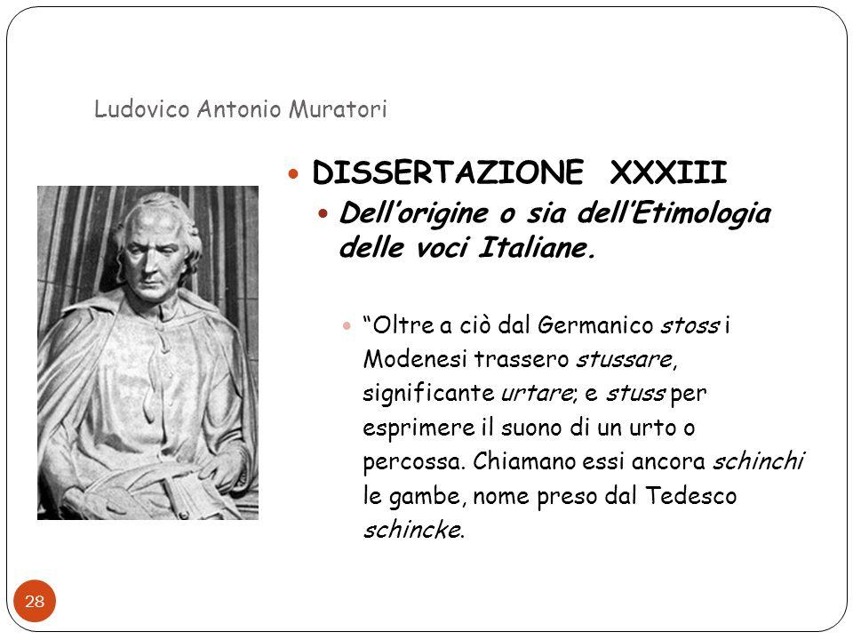 Ludovico Antonio Muratori 28 DISSERTAZIONE XXXIII Dellorigine o sia dellEtimologia delle voci Italiane. Oltre a ciò dal Germanico stoss i Modenesi tra