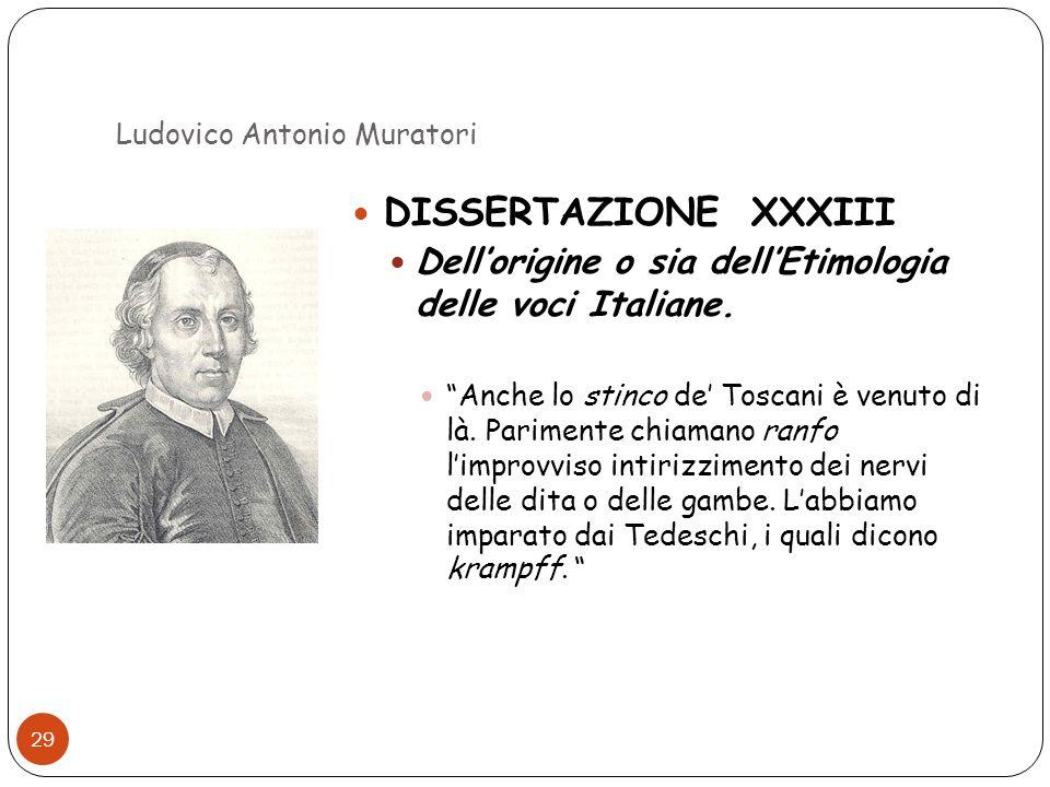 Ludovico Antonio Muratori 29 DISSERTAZIONE XXXIII Dellorigine o sia dellEtimologia delle voci Italiane. Anche lo stinco de Toscani è venuto di là. Par