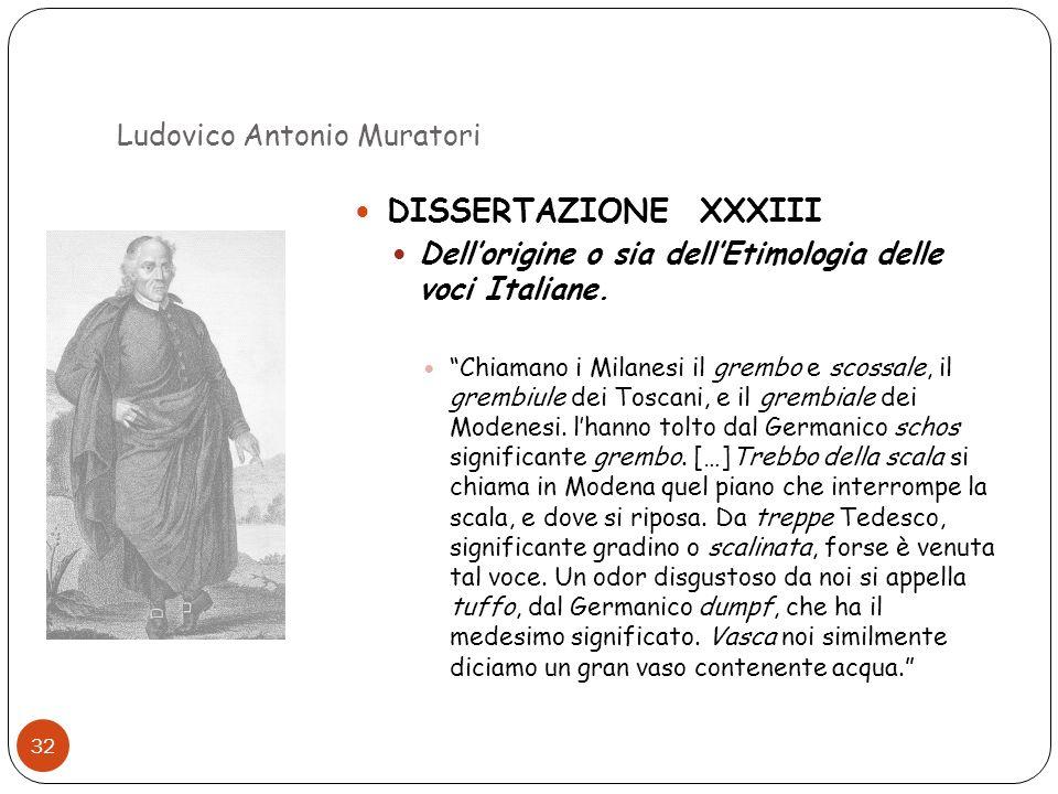 Ludovico Antonio Muratori 32 DISSERTAZIONE XXXIII Dellorigine o sia dellEtimologia delle voci Italiane. Chiamano i Milanesi il grembo e scossale, il g