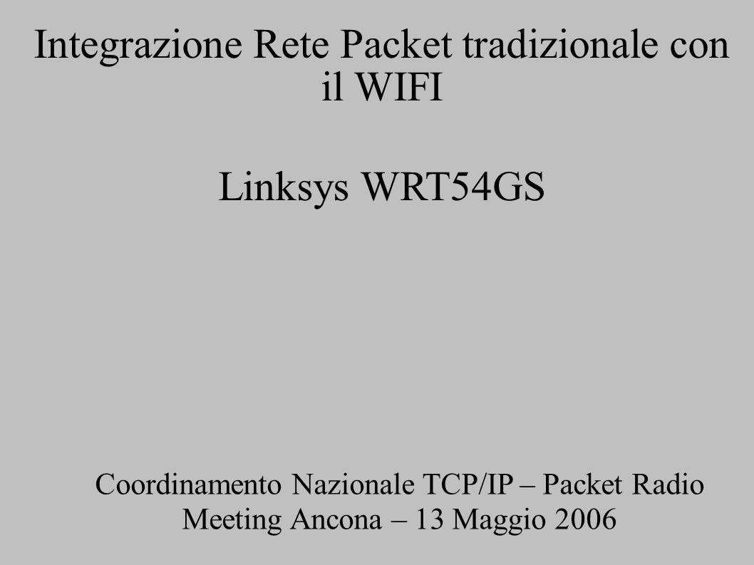 Integrazione Rete Packet tradizionale con il WIFI Linksys WRT54GS Coordinamento Nazionale TCP/IP – Packet Radio Meeting Ancona – 13 Maggio 2006