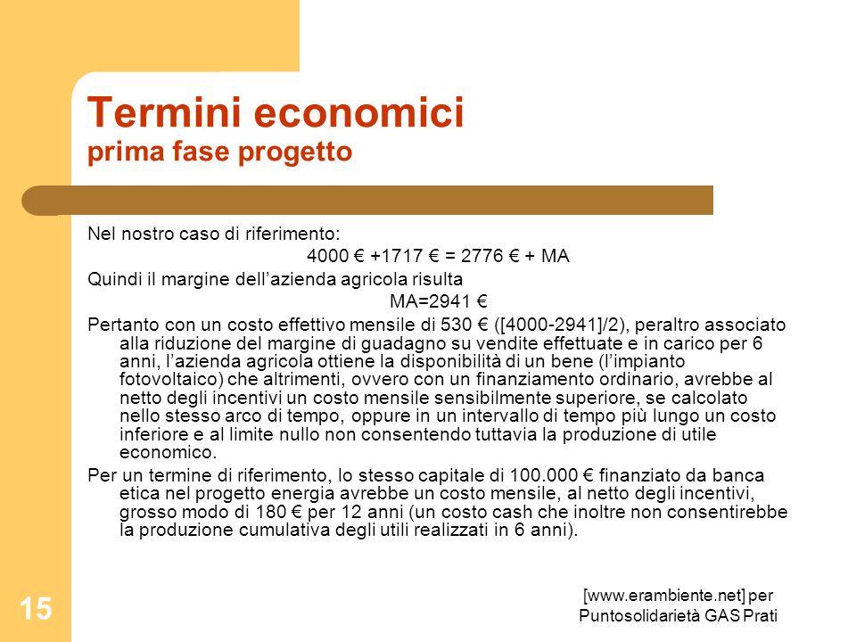 [www.erambiente.net] per Puntosolidarietà GAS Prati 15 Termini economici prima fase progetto Nel nostro caso di riferimento: 4000 +1717 = 2776 + MA Qu