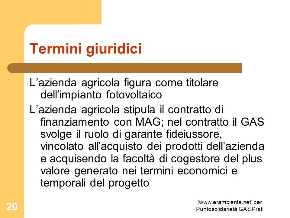 [www.erambiente.net] per Puntosolidarietà GAS Prati 20 Termini giuridici Lazienda agricola figura come titolare dellimpianto fotovoltaico Lazienda agr