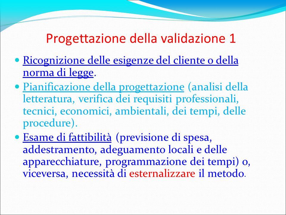 Progettazione della validazione 1 Ricognizione delle esigenze del cliente o della norma di legge. Pianificazione della progettazione (analisi della le