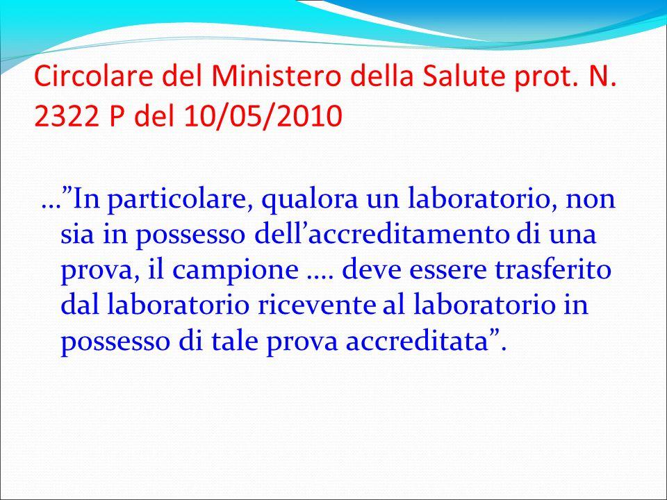 Circolare del Ministero della Salute prot. N. 2322 P del 10/05/2010 …In particolare, qualora un laboratorio, non sia in possesso dellaccreditamento di