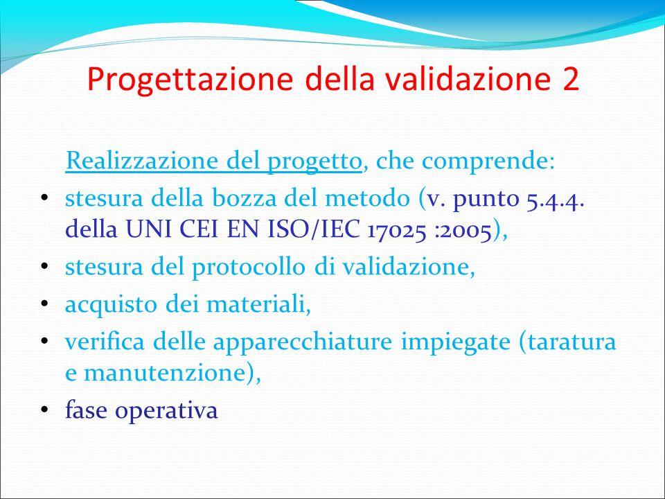 Progettazione della validazione 2 Realizzazione del progetto, che comprende: stesura della bozza del metodo (v. punto 5.4.4. della UNI CEI EN ISO/IEC