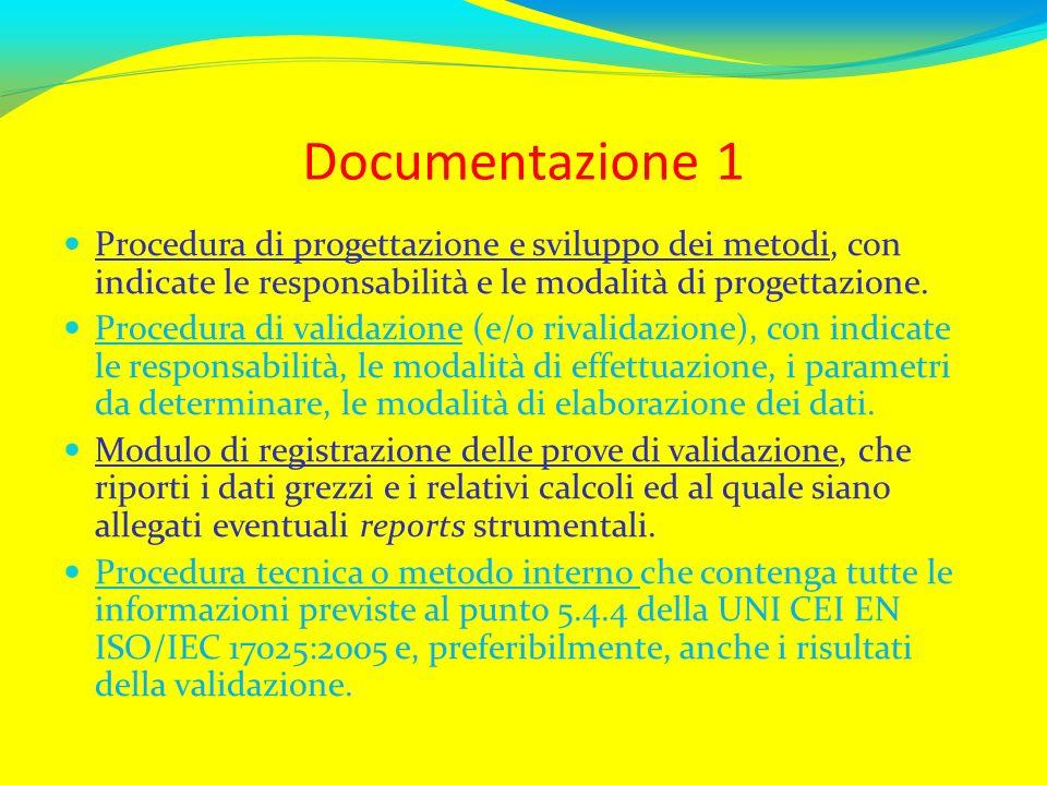 Documentazione 1 Procedura di progettazione e sviluppo dei metodi, con indicate le responsabilità e le modalità di progettazione. Procedura di validaz