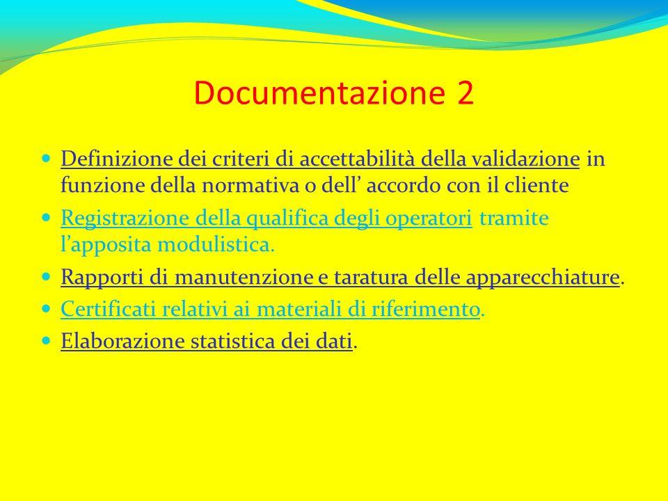 Documentazione 2 Definizione dei criteri di accettabilità della validazione in funzione della normativa o dell accordo con il cliente Registrazione de