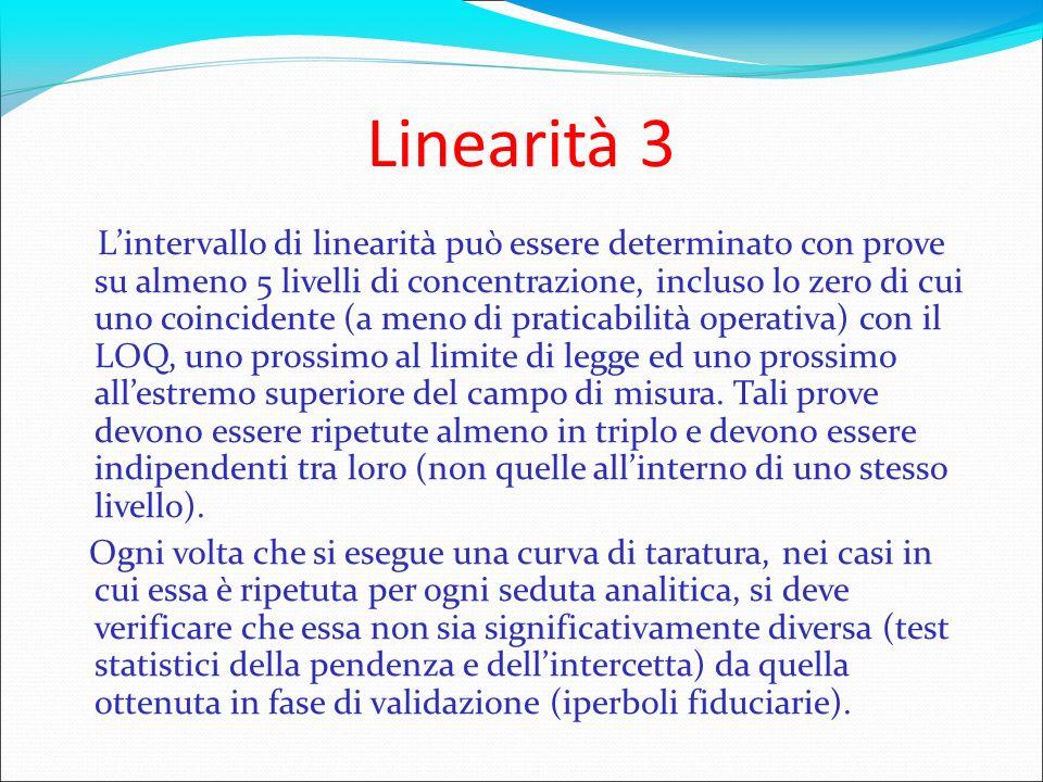 Linearità 3 Lintervallo di linearità può essere determinato con prove su almeno 5 livelli di concentrazione, incluso lo zero di cui uno coincidente (a
