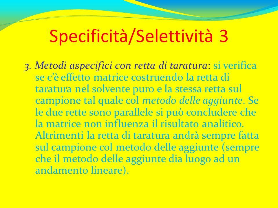 Specificità/Selettività 3 3. Metodi aspecifici con retta di taratura: si verifica se cè effetto matrice costruendo la retta di taratura nel solvente p