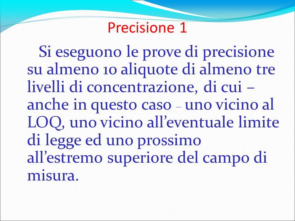 Precisione 1 Si eseguono le prove di precisione su almeno 10 aliquote di almeno tre livelli di concentrazione, di cui – anche in questo caso – uno vic
