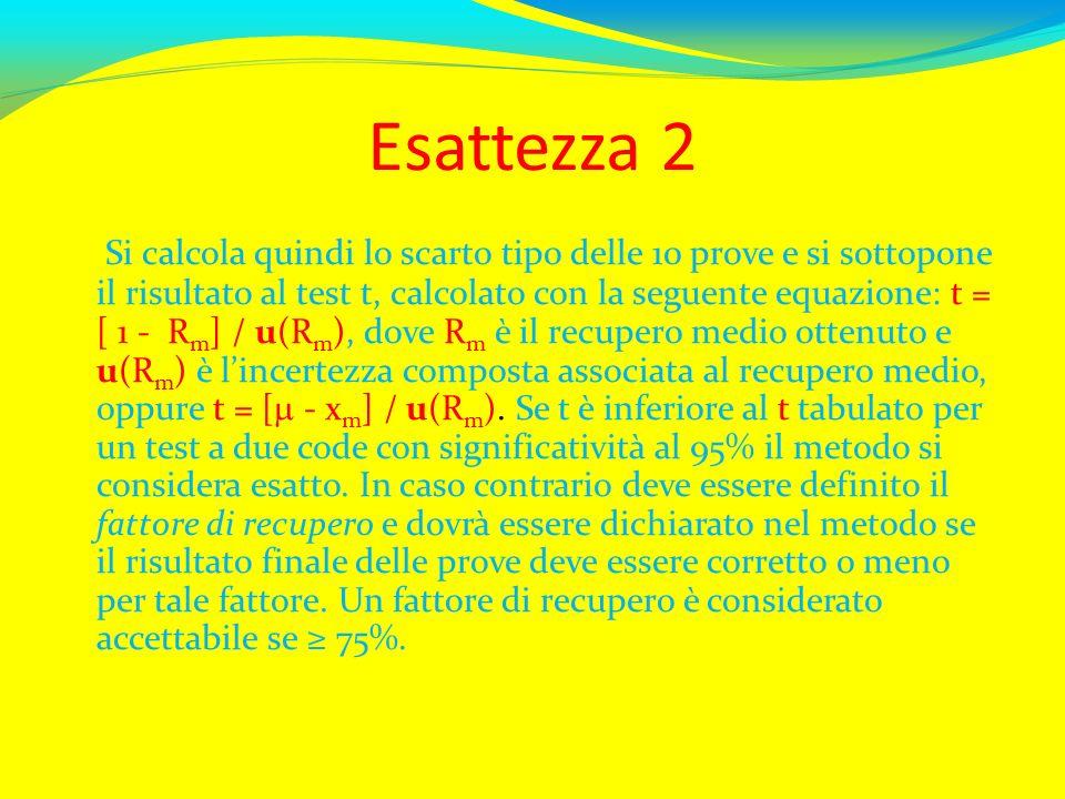Esattezza 2 Si calcola quindi lo scarto tipo delle 10 prove e si sottopone il risultato al test t, calcolato con la seguente equazione: t = [ 1 - R m