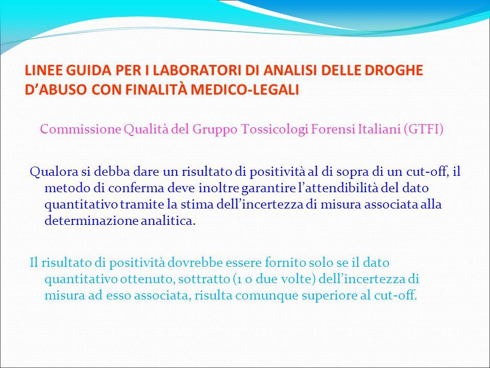 LINEE GUIDA PER I LABORATORI DI ANALISI DELLE DROGHE DABUSO CON FINALITÀ MEDICO-LEGALI Commissione Qualità del Gruppo Tossicologi Forensi Italiani (GT