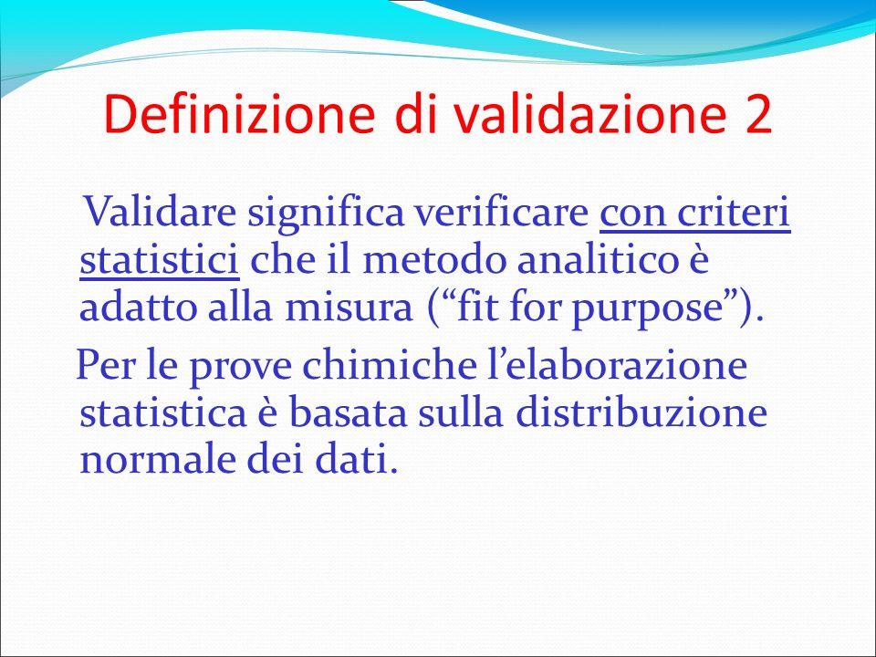Definizione di validazione 2 Validare significa verificare con criteri statistici che il metodo analitico è adatto alla misura (fit for purpose). Per