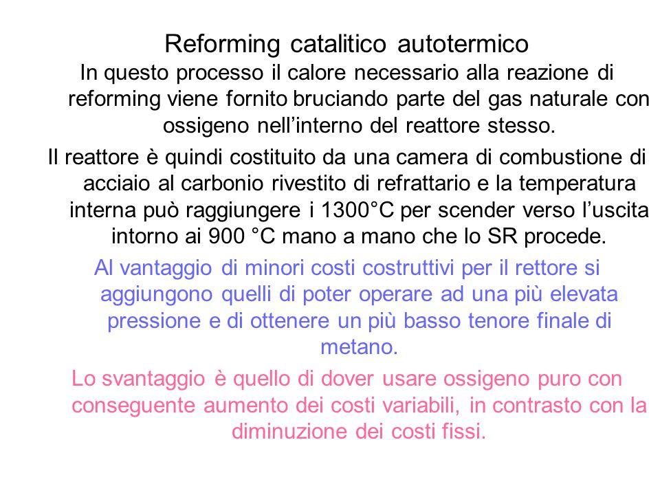 Reforming catalitico autotermico In questo processo il calore necessario alla reazione di reforming viene fornito bruciando parte del gas naturale con