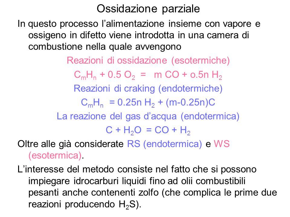 Ossidazione parziale In questo processo lalimentazione insieme con vapore e ossigeno in difetto viene introdotta in una camera di combustione nella qu