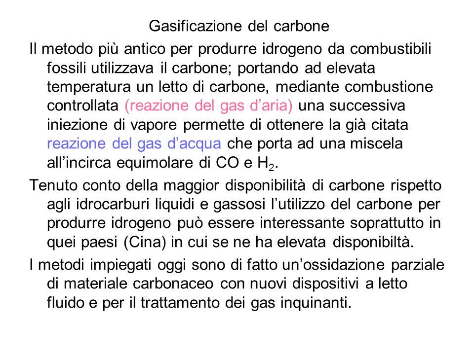 Gasificazione del carbone Il metodo più antico per produrre idrogeno da combustibili fossili utilizzava il carbone; portando ad elevata temperatura un