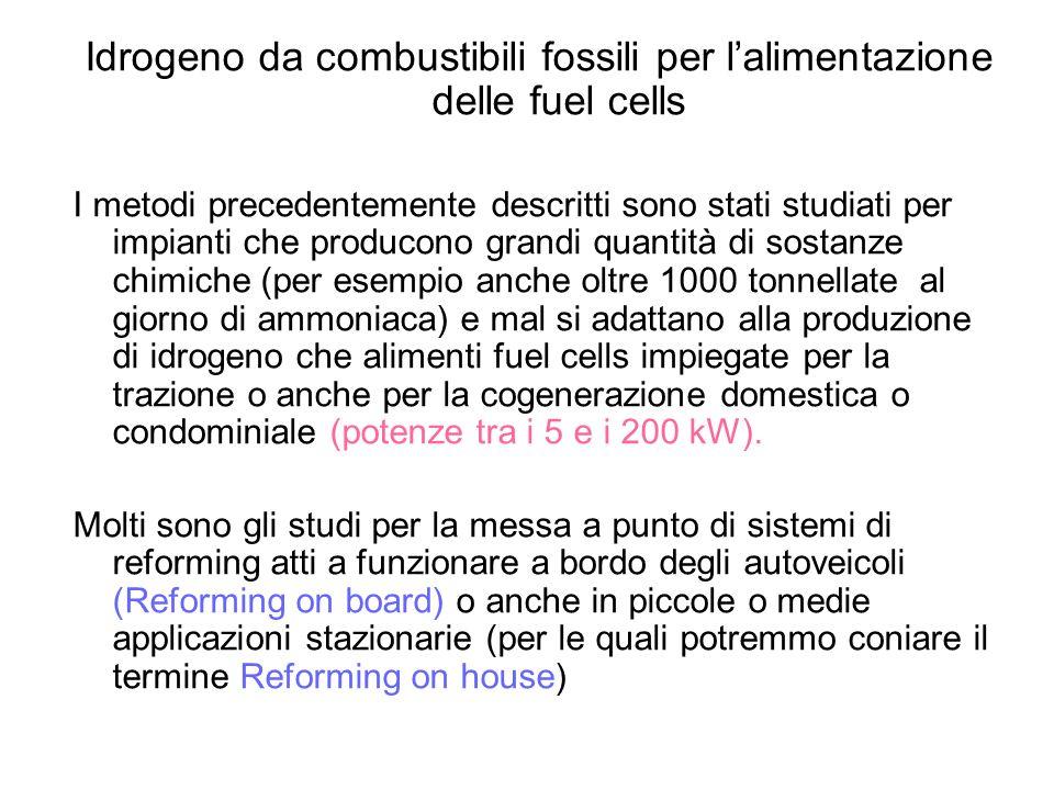 Idrogeno da combustibili fossili per lalimentazione delle fuel cells I metodi precedentemente descritti sono stati studiati per impianti che producono