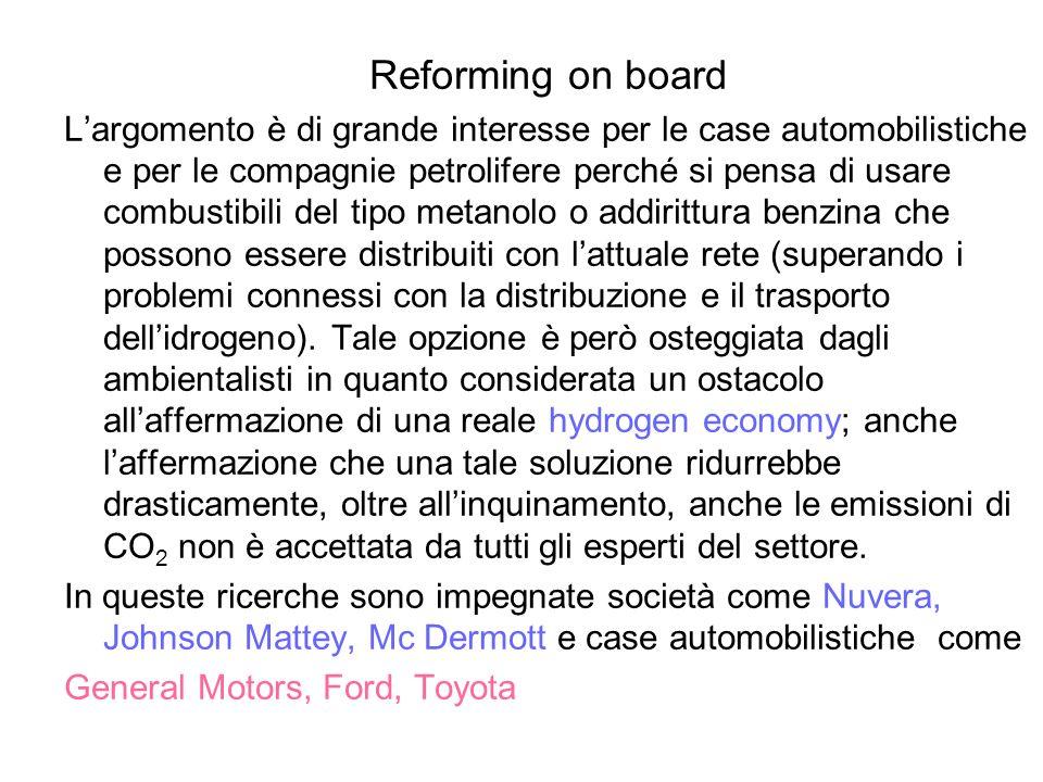 Reforming on board Largomento è di grande interesse per le case automobilistiche e per le compagnie petrolifere perché si pensa di usare combustibili