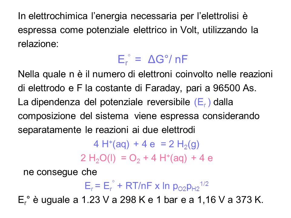 In elettrochimica lenergia necessaria per lelettrolisi è espressa come potenziale elettrico in Volt, utilizzando la relazione: E r ° = ΔG°/ nF Nella q