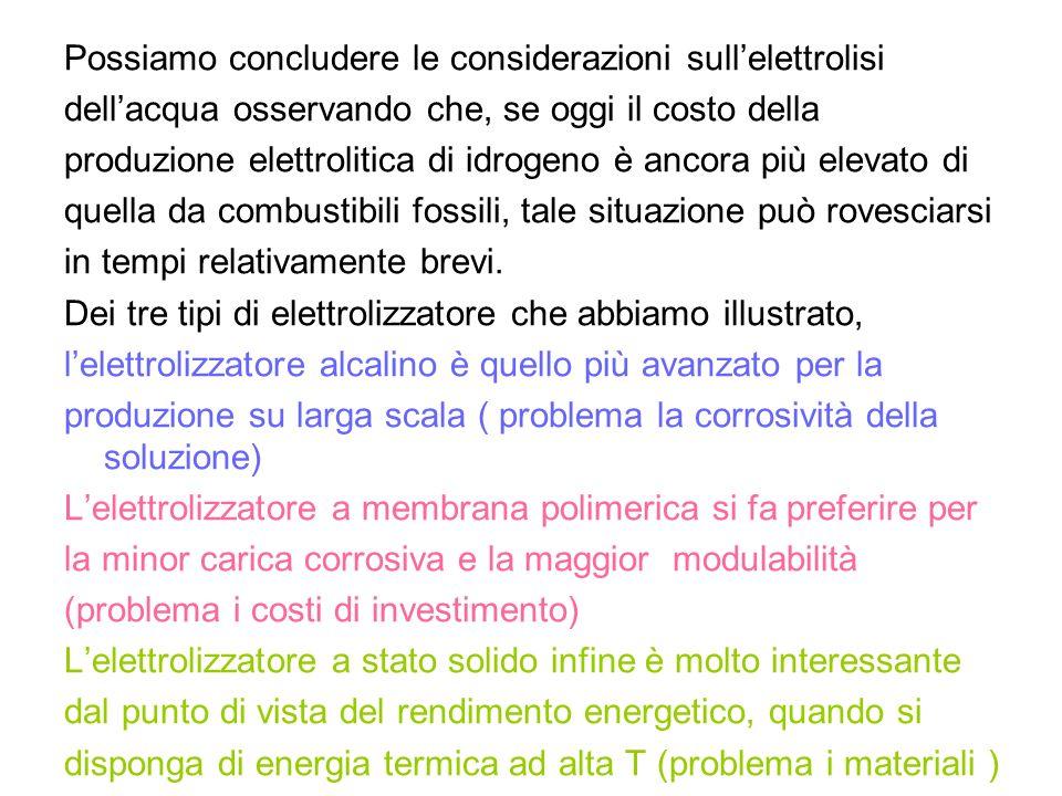 Possiamo concludere le considerazioni sullelettrolisi dellacqua osservando che, se oggi il costo della produzione elettrolitica di idrogeno è ancora p