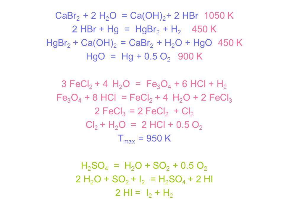 CaBr 2 + 2 H 2 O = Ca(OH) 2 + 2 HBr 1050 K 2 HBr + Hg = HgBr 2 + H 2 450 K HgBr 2 + Ca(OH) 2 = CaBr 2 + H 2 O + HgO 450 K HgO = Hg + 0.5 O 2 900 K 3 F