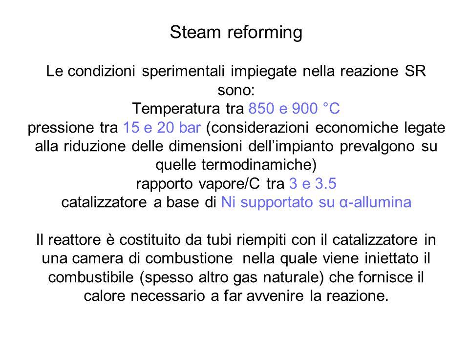 Steam reforming Le condizioni sperimentali impiegate nella reazione SR sono: Temperatura tra 850 e 900 °C pressione tra 15 e 20 bar (considerazioni ec