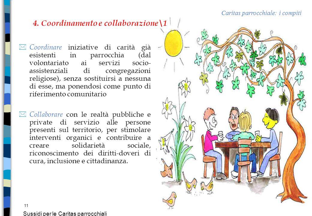 11 Sussidi per le Caritas parrocchiali * Coordinare iniziative di carità già esistenti in parrocchia (dal volontariato ai servizi socio- assistenziali