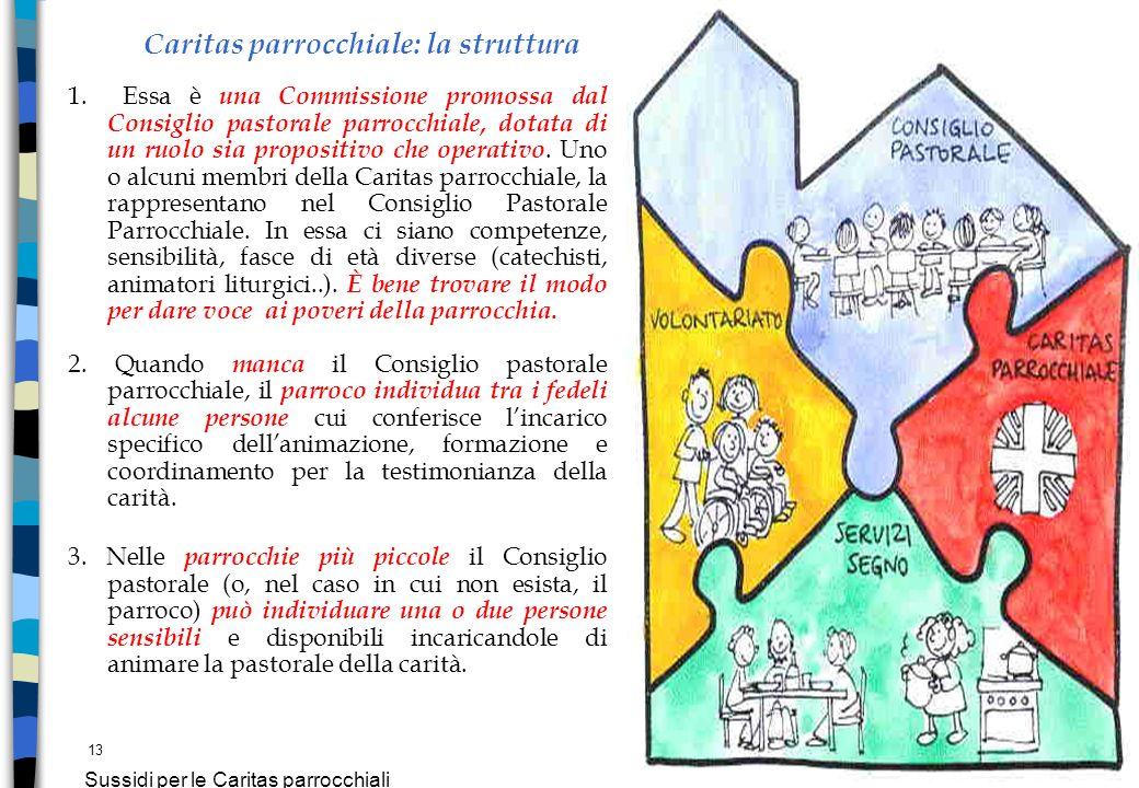 13 Sussidi per le Caritas parrocchiali Caritas parrocchiale: la struttura 1. Essa è una Commissione promossa dal Consiglio pastorale parrocchiale, dot