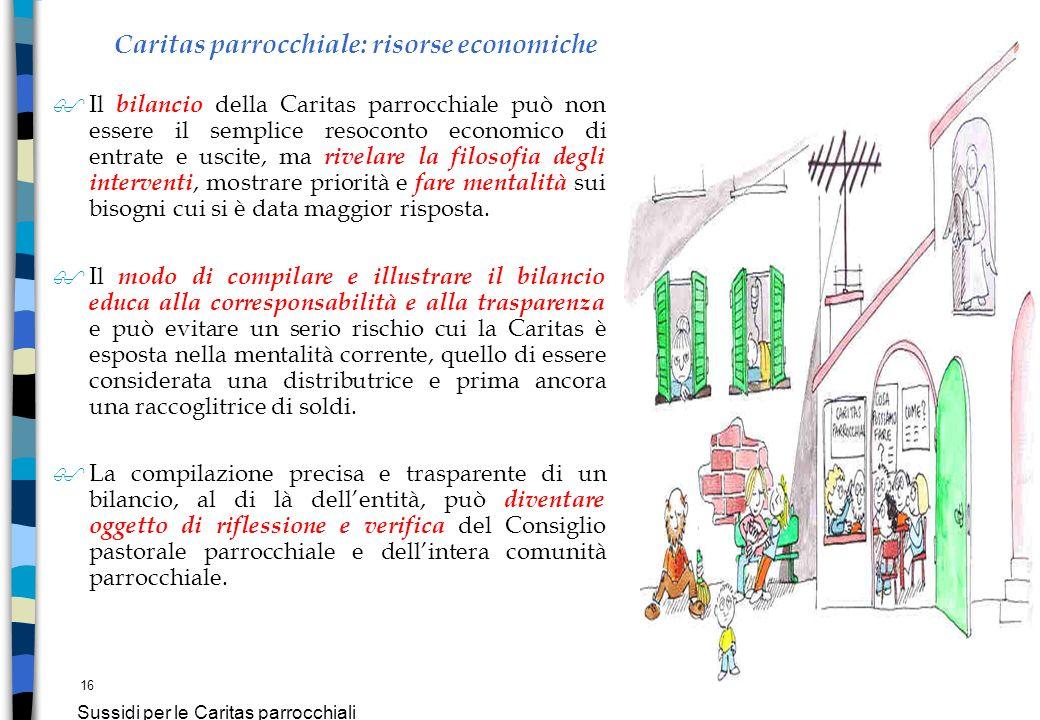 16 Sussidi per le Caritas parrocchiali Caritas parrocchiale: risorse economiche $Il bilancio della Caritas parrocchiale può non essere il semplice res