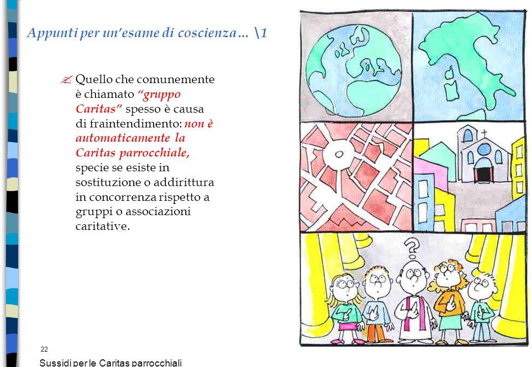 22 Sussidi per le Caritas parrocchiali Appunti per unesame di coscienza… \1 ? Quello che comunemente è chiamato gruppo Caritas spesso è causa di frain