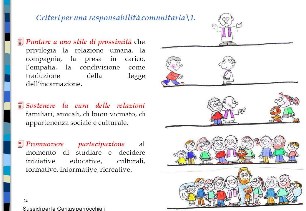 24 Sussidi per le Caritas parrocchiali Criteri per una responsabilità comunitaria\1. 4 Puntare a uno stile di prossimità che privilegia la relazione u