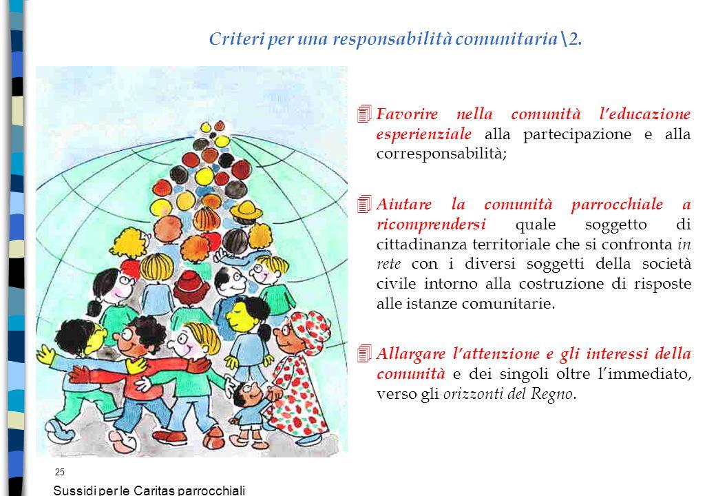 25 Sussidi per le Caritas parrocchiali Criteri per una responsabilità comunitaria\2. 4 Favorire nella comunità leducazione esperienziale alla partecip