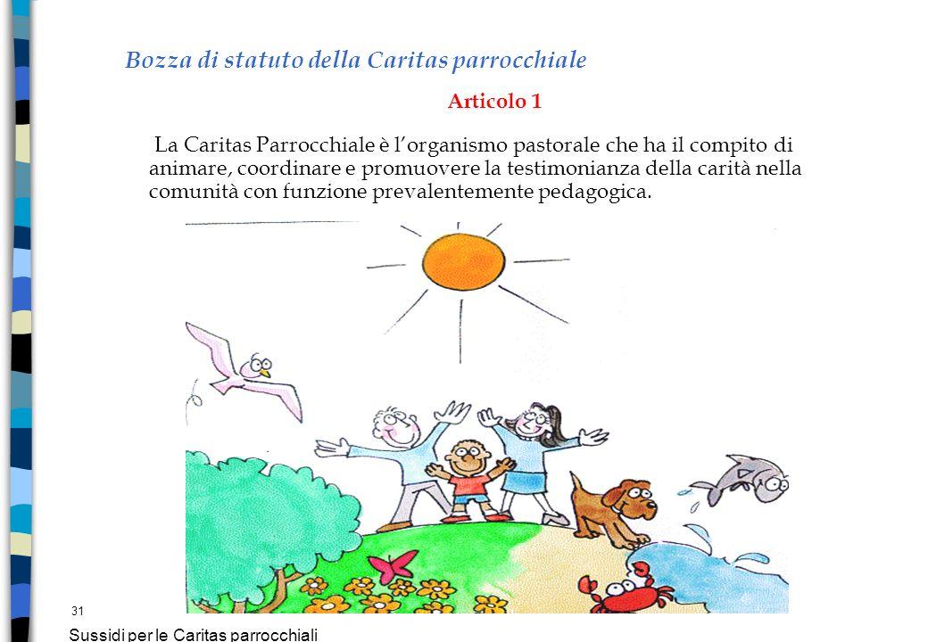 31 Sussidi per le Caritas parrocchiali Bozza di statuto della Caritas parrocchiale Articolo 1 La Caritas Parrocchiale è lorganismo pastorale che ha il