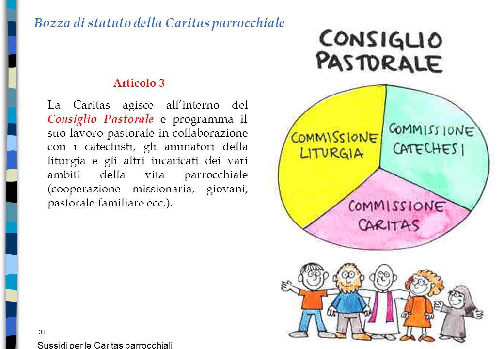 33 Sussidi per le Caritas parrocchiali Bozza di statuto della Caritas parrocchiale Articolo 3 La Caritas agisce allinterno del Consiglio Pastorale e p