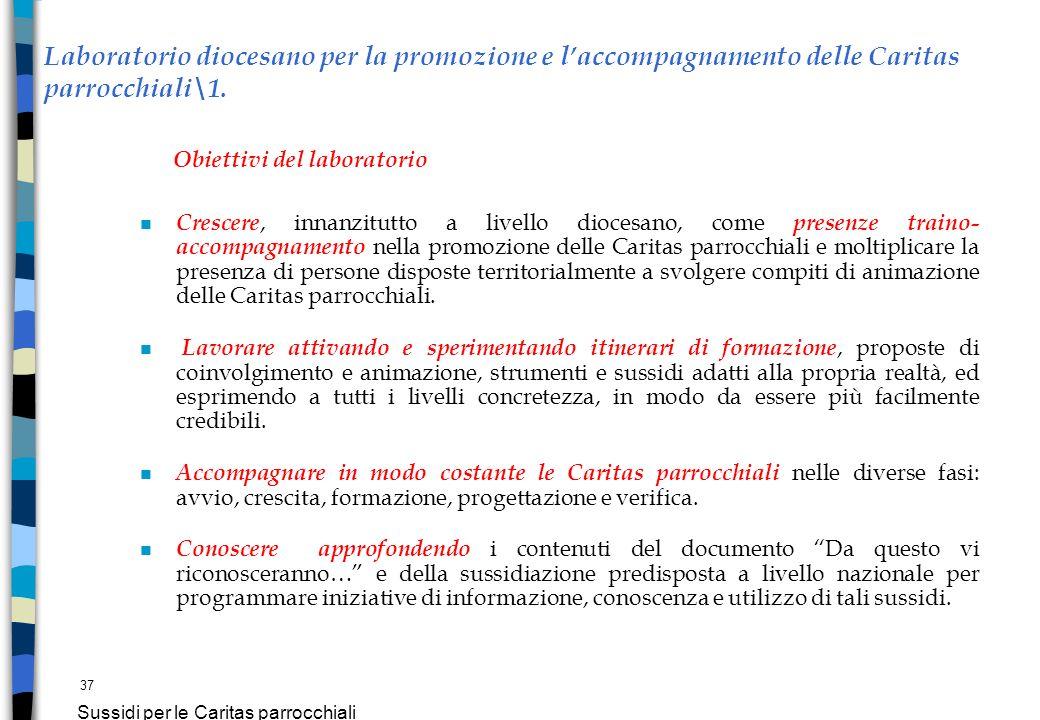 37 Sussidi per le Caritas parrocchiali Laboratorio diocesano per la promozione e laccompagnamento delle Caritas parrocchiali\1. Obiettivi del laborato