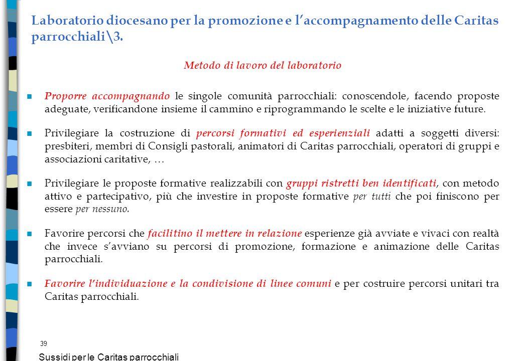 39 Sussidi per le Caritas parrocchiali Laboratorio diocesano per la promozione e laccompagnamento delle Caritas parrocchiali\3. Metodo di lavoro del l
