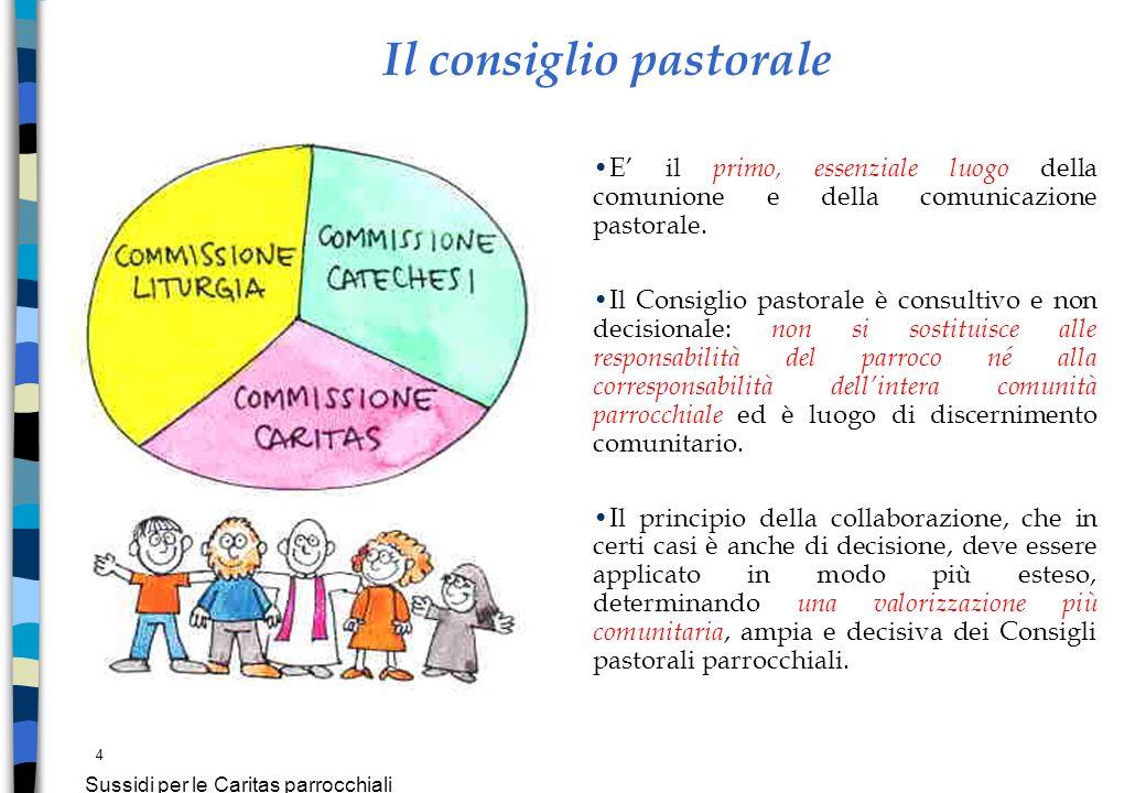 4 Sussidi per le Caritas parrocchiali E il primo, essenziale luogo della comunione e della comunicazione pastorale. Il Consiglio pastorale è consultiv
