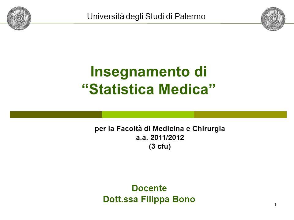 Insegnamento di Statistica Medica per la Facoltà di Medicina e Chirurgia a.a. 2011/2012 (3 cfu) Docente Dott.ssa Filippa Bono Università degli Studi d