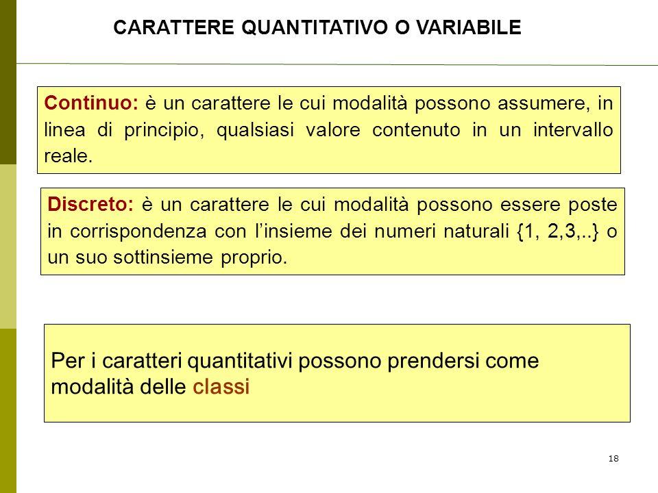 CARATTERE QUANTITATIVO O VARIABILE Continuo: è un carattere le cui modalità possono assumere, in linea di principio, qualsiasi valore contenuto in un