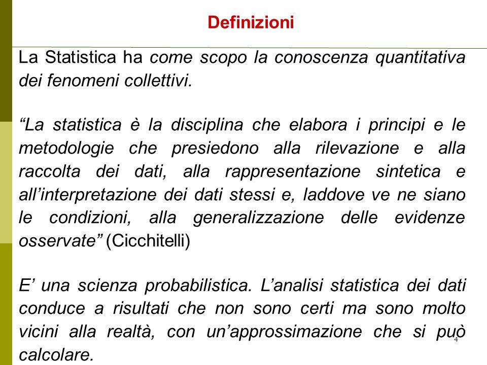 La Statistica ha come scopo la conoscenza quantitativa dei fenomeni collettivi. La statistica è la disciplina che elabora i principi e le metodologie