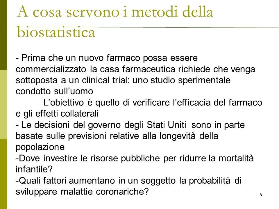 DIVISIONE IN CLASSI DI UN CARATTERE CONTINUO 1.