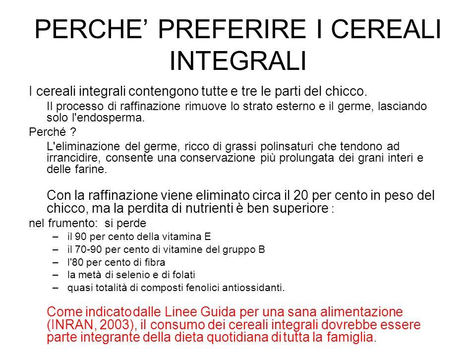 PERCHE PREFERIRE I CEREALI INTEGRALI I cereali integrali contengono tutte e tre le parti del chicco. Il processo di raffinazione rimuove lo strato est