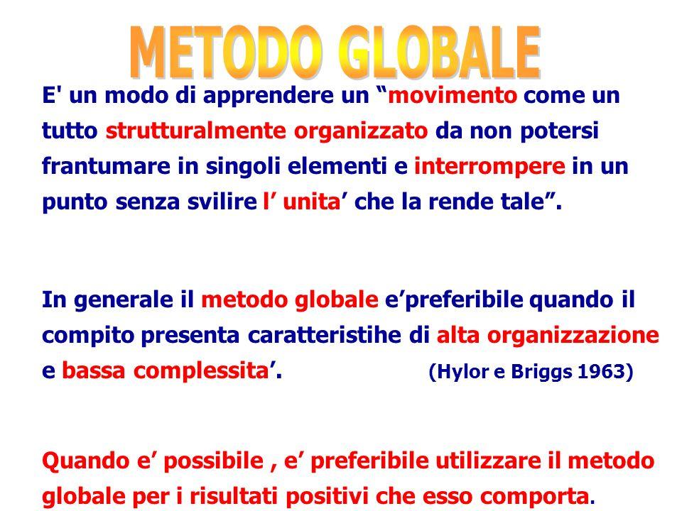 La decisione su quale METODO impiegare va fatta considerando le caratteristiche del compito (integrazione e interazione fra le varie parti che costitu